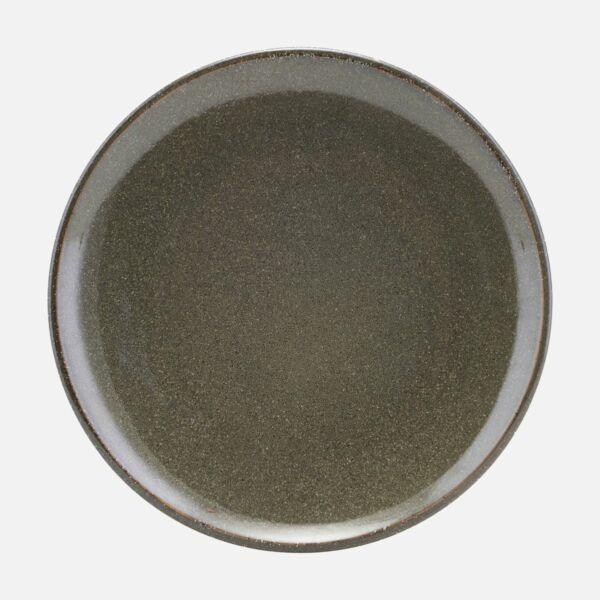 Sötétzöld kerámia lapostányér 6 db