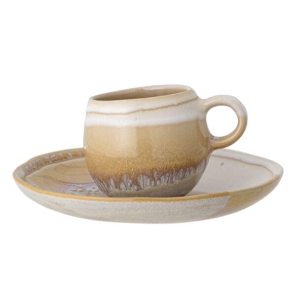Színes kerámia kávéscsésze tányérral 6 db