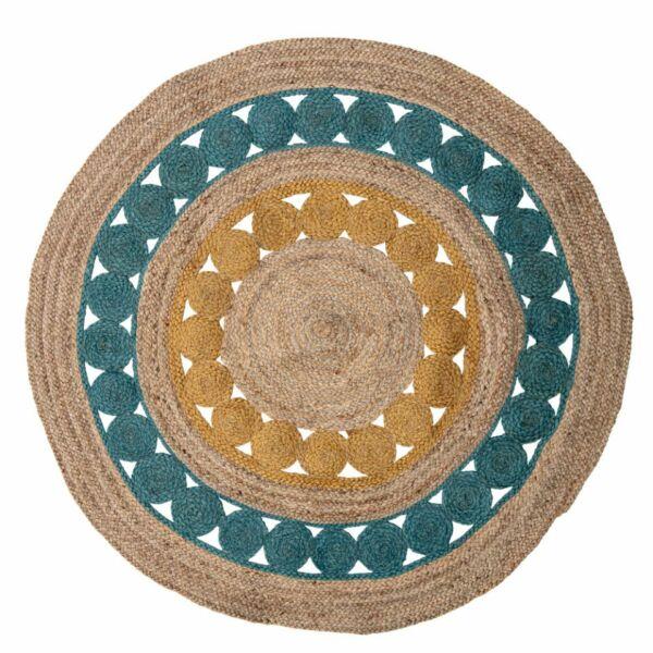 Színes kör alakú juta szőnyeg Ø119 cm