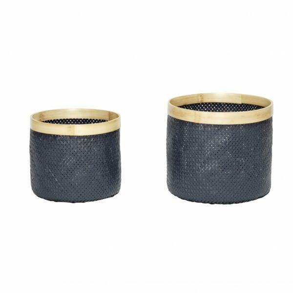 Szürke bambusz kosár szett 2 db