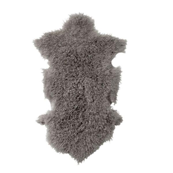 Szürke báránybőrüléstakaró 90x50 cm