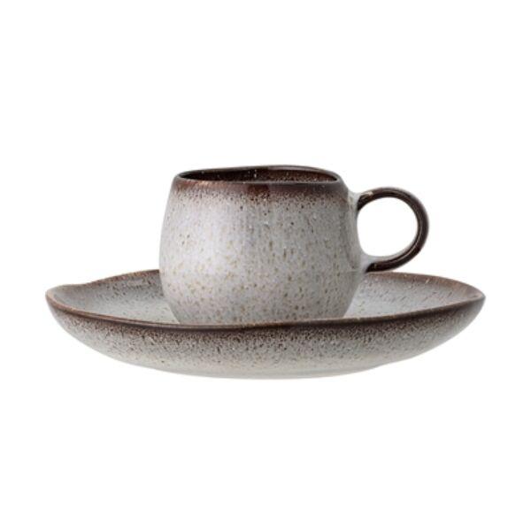 Szürke kerámia csésze tányérral 4 db