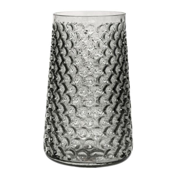Szürke üveg váza Ø18,5xH30,5 cm