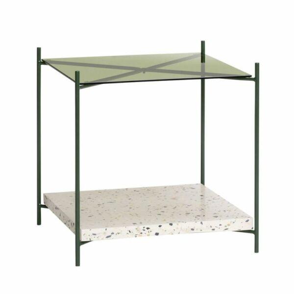 Terrazzo fém keretes és zöld üveges kisasztal
