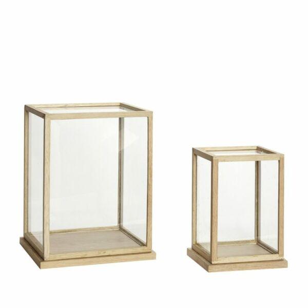 Tölgyfa keretes üveg doboz szett 2 db