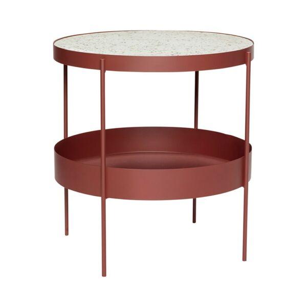 Vörös fém és márvány polcos kisasztal