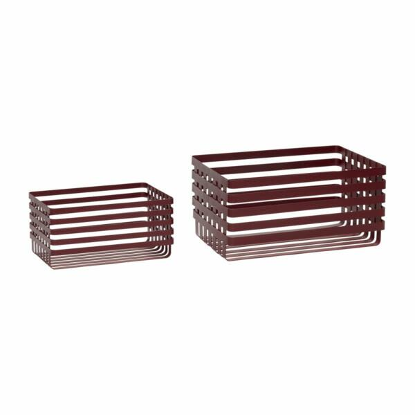 Vörös színű szögletes fém kosár szett, 2 db