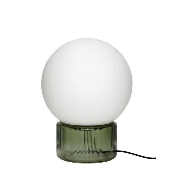 Zöld és fehér gömb alakú asztali lámpa